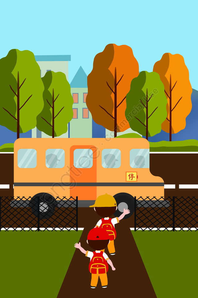 School Season School Bus Child Student, Go To School, House, Grassland llustration image
