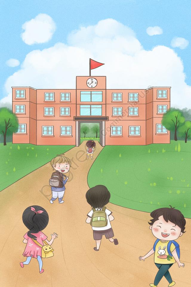 Temporada Da Escola Começando A Escola Ir Para O Aluno Da Escola, A Escola, A Realização De, Mochilas llustration image