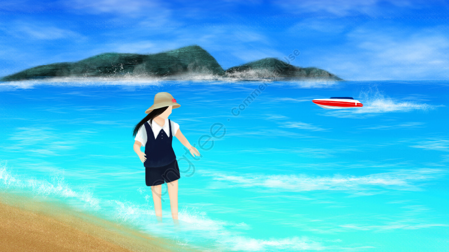 海女孩例證海邊, 踩踏, 摩托艇, 海水 llustration image