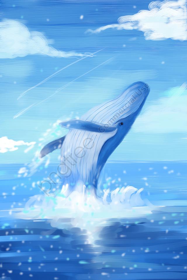 海海クジラ空, 白い雲, ブルー, 手書きイラスト llustration image