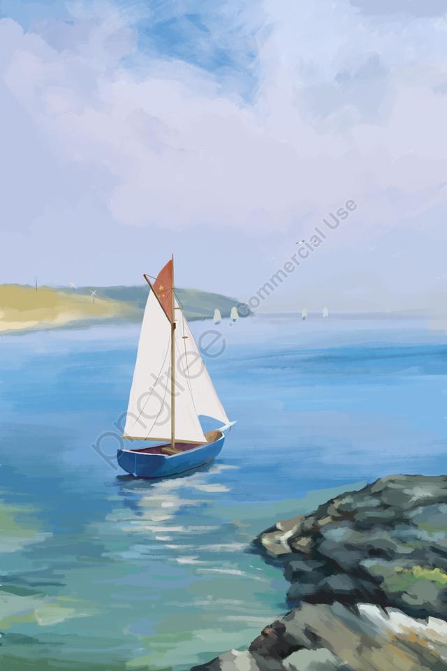 sea sailboat landscape seaside, Tourism, Sea, Sailboat llustration image