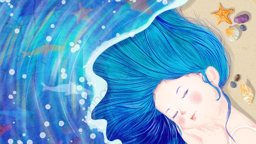 海の十代の少女青い手描きの魚, 水生生物, ビーチ, 海 llustration image