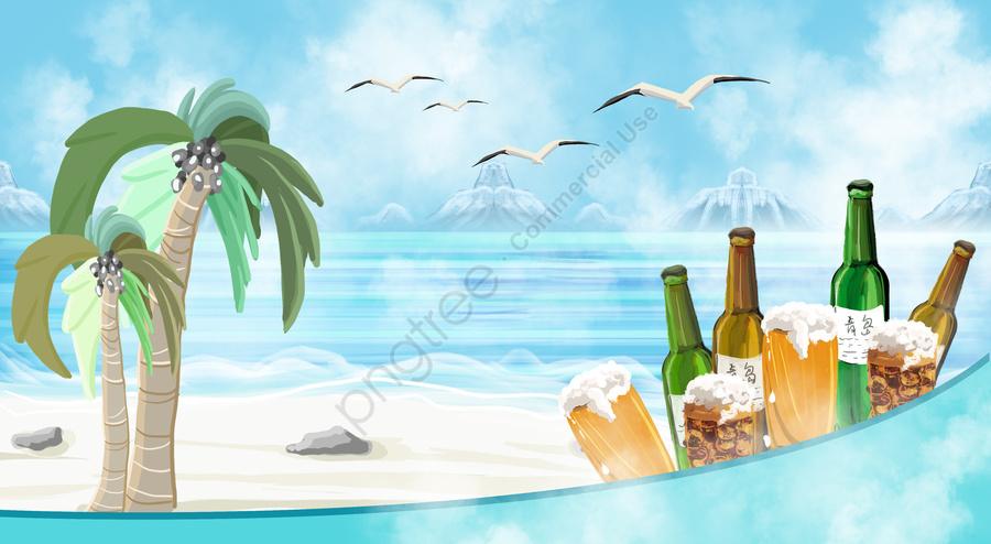 seaside beer stone beach, Seagull, Coconut Tree, Summer llustration image