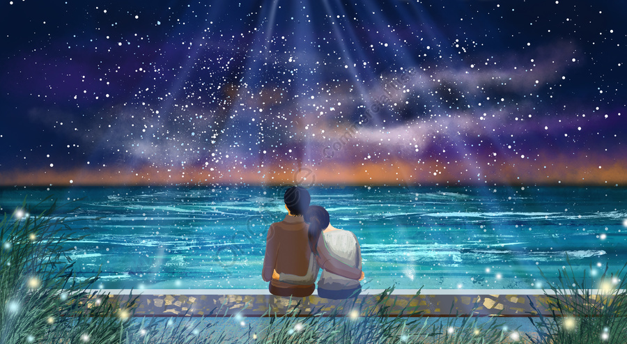 حلم زوجين فتاة على شاطئ البحر, ولد, احتضان, السماء المليئة بالنجوم llustration image