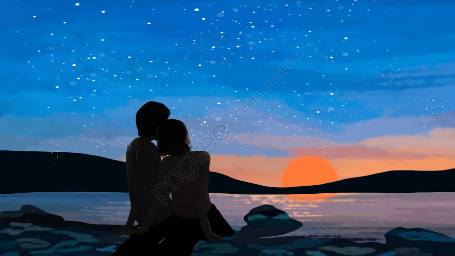seaside dusk under the sky couple, Blue Sky, Sunset, Night Sky llustration image