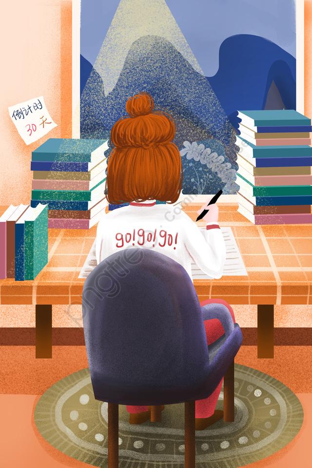 Menina De Preparação De Revisão Séria, Ilustração, Exame, Pós Graduação llustration image