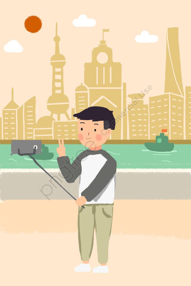 Shanghai Bund Selfie Huangpu River, Boy, Sun, Vessel llustration image