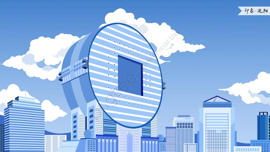 shenyang fangyuan building impression landmark building, Landmarks, City Illustration, Skyline llustration image