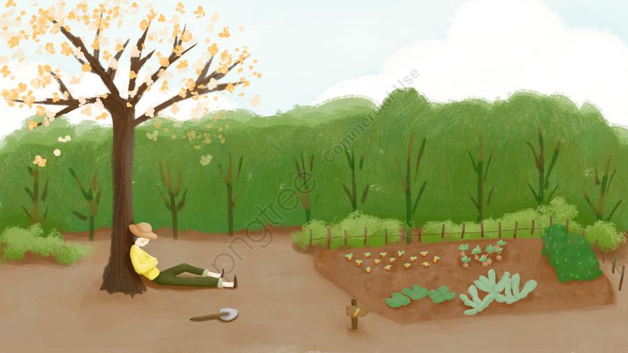 ईमानदारी ग्रामीण जीवन क्षेत्र, नीले आकाश, वनस्पति उद्यान, लड़का llustration image