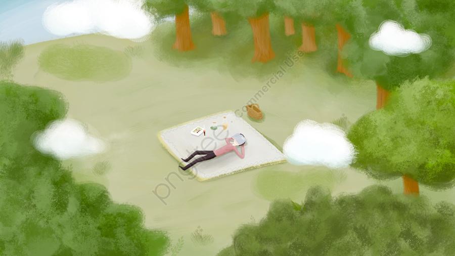 誠意農村生活草原, 白雲, 野餐, 男孩 llustration image