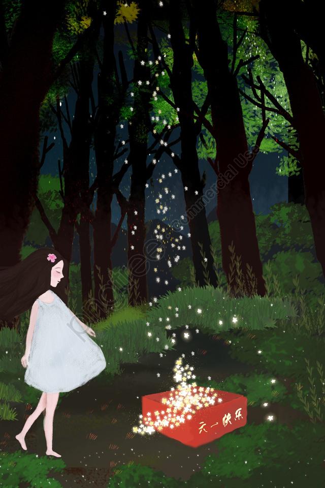 six one child night starry sky, Dream, Girl, Starlight llustration image