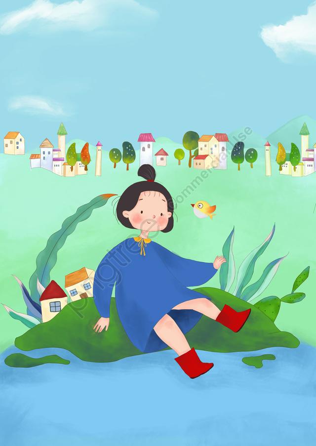 6人の子供の日手描きの漫画, ガール, ハンドドガール, 漫画の女の子 llustration image