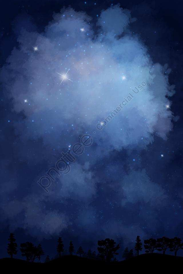 하늘 고양이 별 별이 빛나는 하늘, 밤, 손, 그리기 llustration image