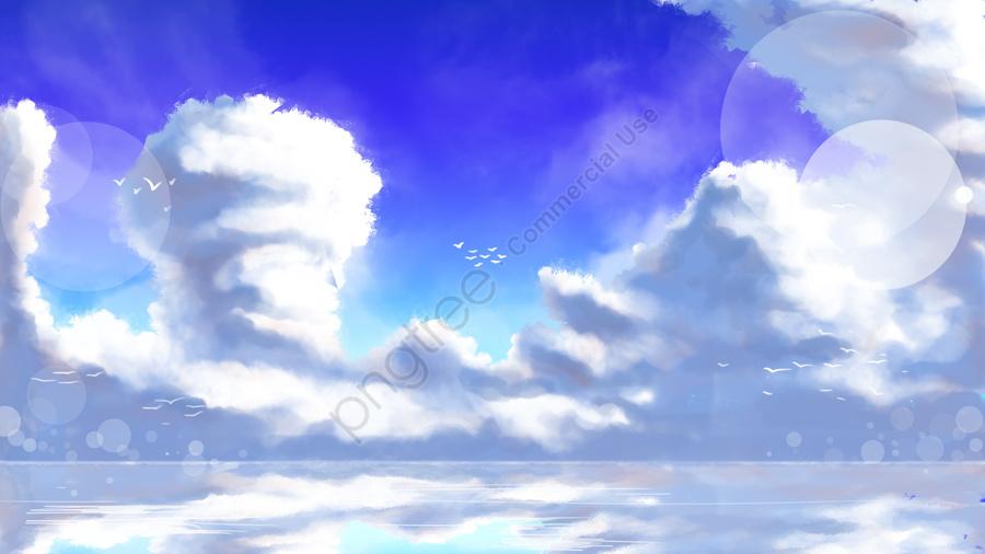Camada De Nuvem Do Céu Nível Do Mar Gaivota, Pintado A Mão, Sky, Camada De Nuvem llustration image
