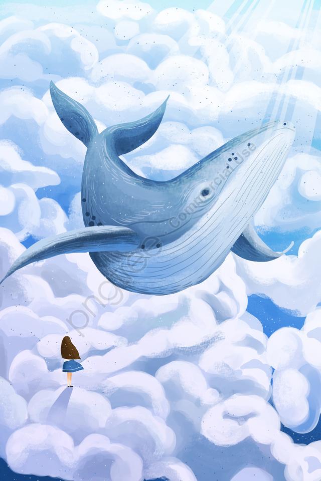 하늘 구름 바다 구름 구름, 햇빛, 고래, 여자 llustration image
