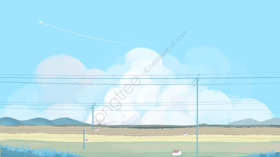 하늘 구름 흰 구름 마을, 필드, 신선한, 자유형 llustration image