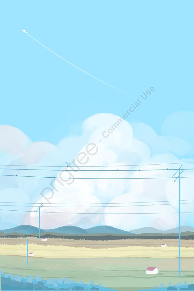 Awan Awan Putih Awan Kampung, Bidang, Segar, Tangan Dicat llustration image