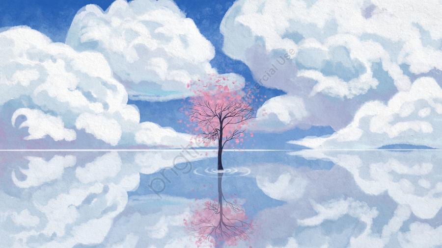 空日白い雲桜, 湖面, イラスト, 空 llustration image