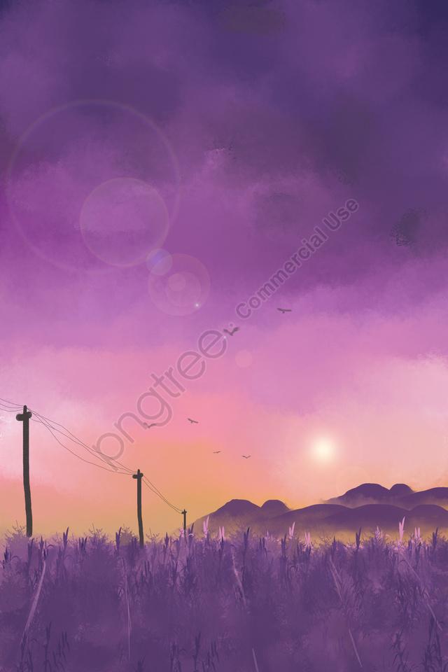 スカイフィールドサンセットヒル, 野生ガチョウ, 紫, 手書きイラスト llustration image