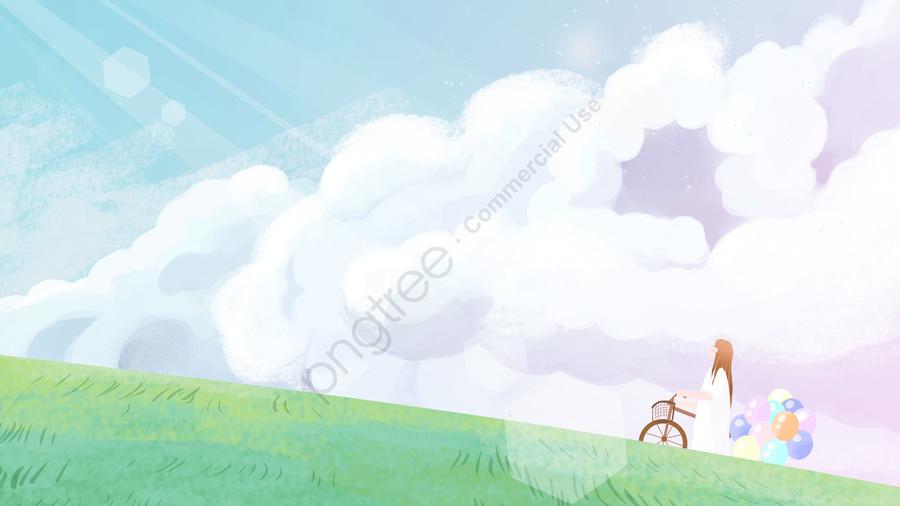 आकाश लड़की बादल बादल, गुब्बारा, किराए की साइकिल, चरागाह llustration image