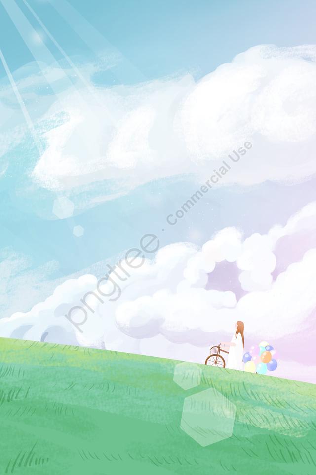 Sky Girl Cloud Cloud Illustration Image On Pngtreeロイヤリティフリー