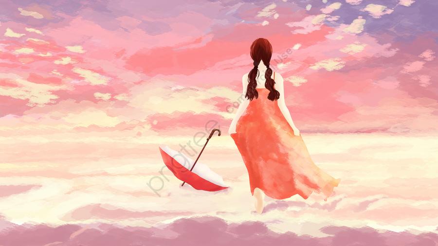 Céu Menina Nuvem Passear, Run, Linda, Anseio Por llustration image