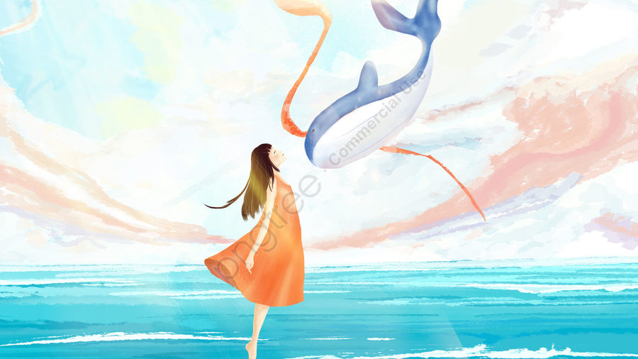 sky hand painted dream girl and whale, White Clouds, Ocean, Beautiful llustration image