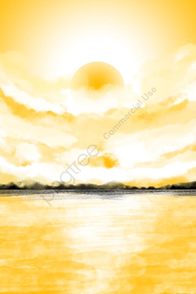 Langit Matahari Terbit Awan Matahari, Lake Permukaan, Garis Melintang, Panas llustration image