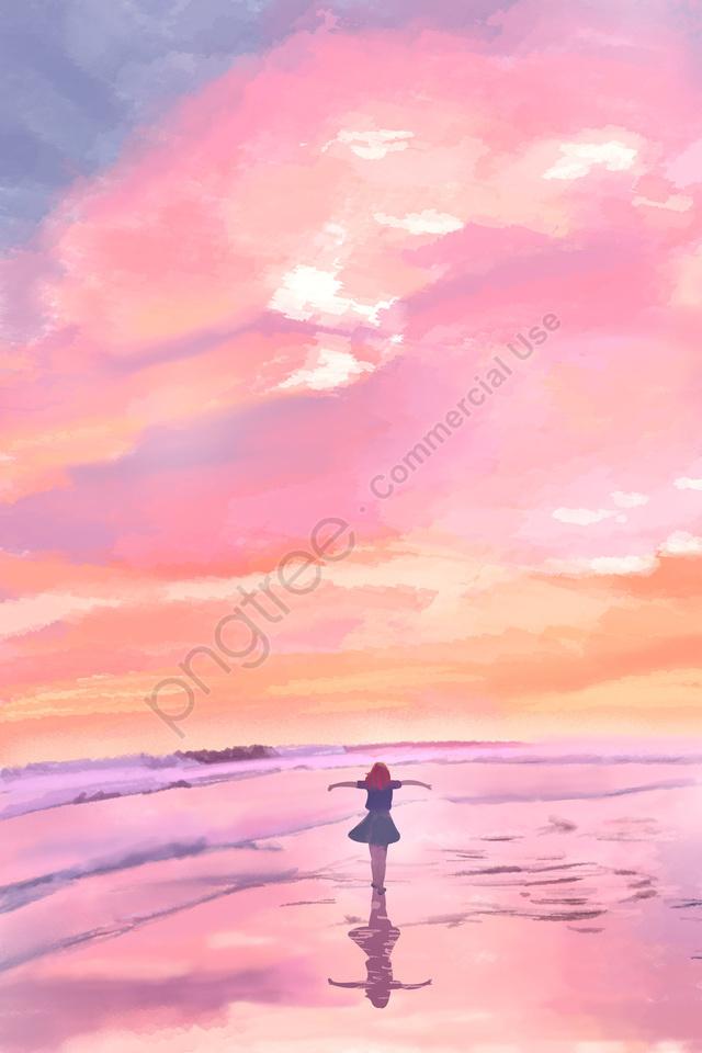 Bầu Trời Hoàng Hôn Bên Bờ Biển Cô Gái Xem Lại, Mây Lửa, Những đám Mây Màu Hồng, Thành Thật llustration image