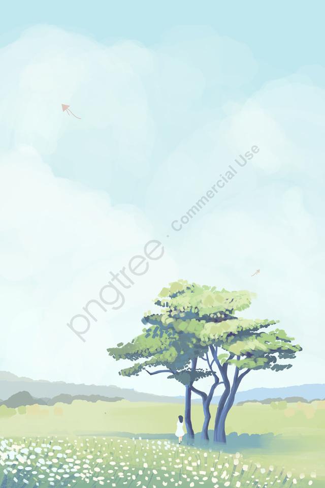 하늘 나무 구름 구름, 흰 구름, 잔디, 여자 llustration image