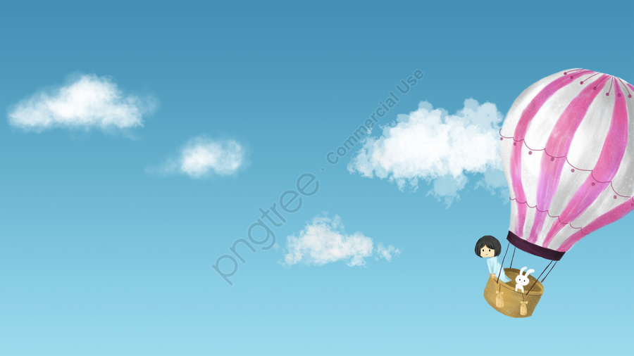 Sky White Clouds Cloud Helium Balloon, Hot Air Balloon, Girl, Bunny llustration image