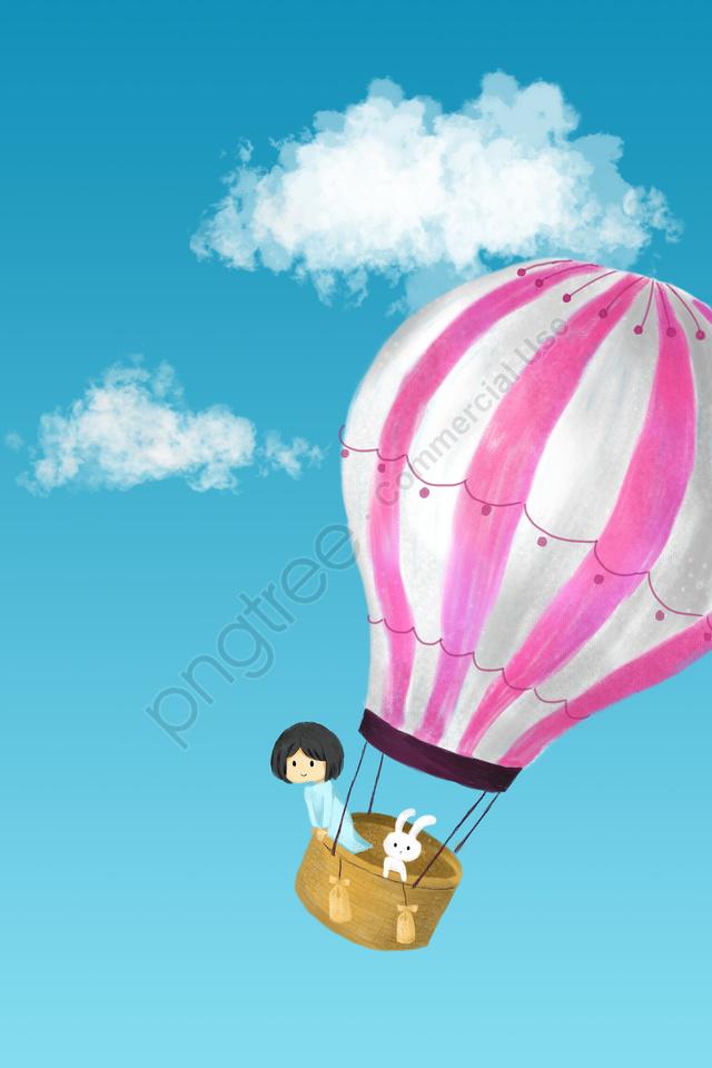 Langit Awan Putih Awan Helium Balon, Balon Udara Panas, Gadis, Bunny llustration image