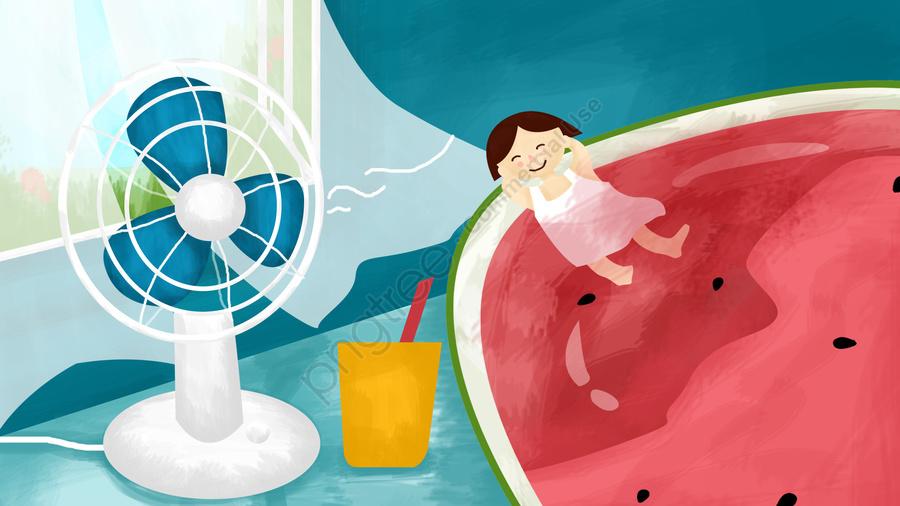 小熱圖西瓜夏天, 喝, 風扇, 吹風機 llustration image