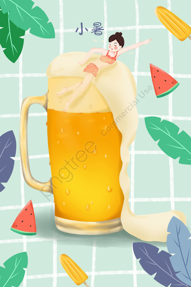 小夏節小熱夏夏, 在啤酒瓶裡游泳, 小女孩, 西瓜 llustration image