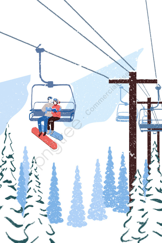 풍경 커플에서 눈 산 케이블 봐, 여행, 삽화, 설산 llustration image