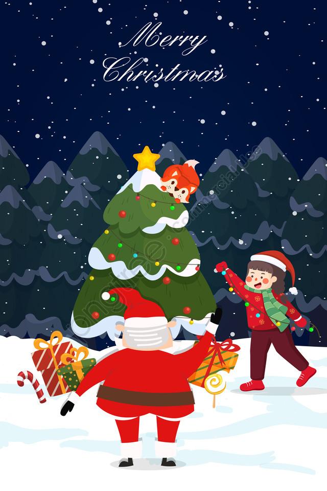 snow winter night illustration christmas, Giáng, Trẻ, Động llustration image