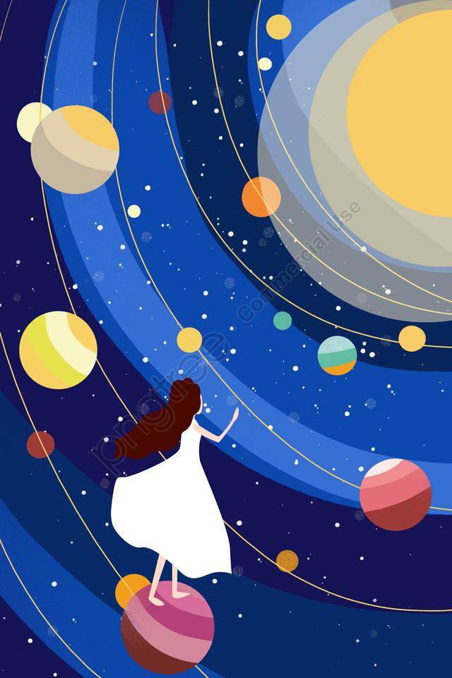 парить девушка вселенная планета, звезда, синие, желтый llustration image
