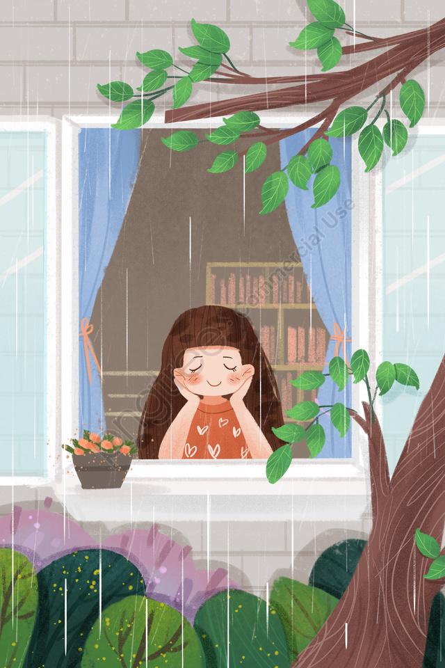 ソーラー用語春雨水雨, 人物, 手塗り, 音 llustration image