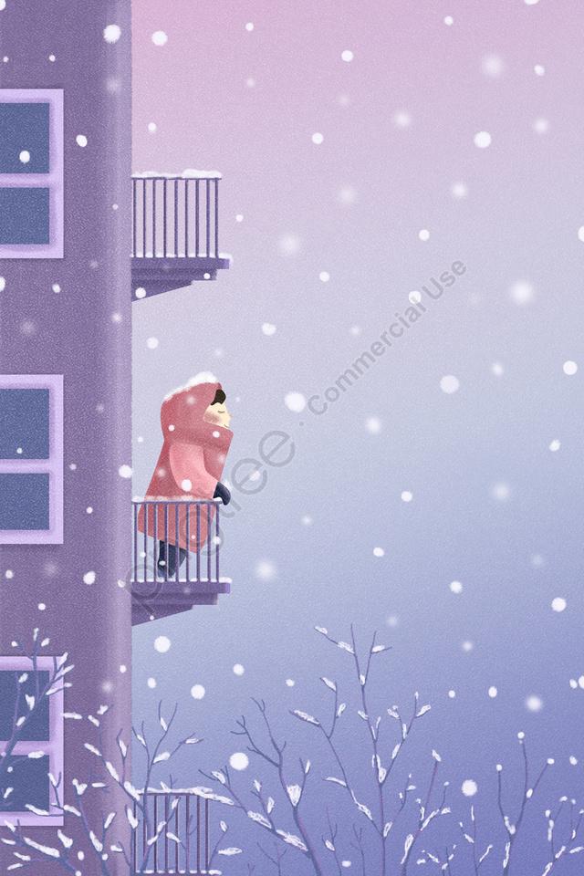 ソーラー用語24ソーラー用語冬の冬の始まり, ライトスノー, 豪雪, 紫 llustration image