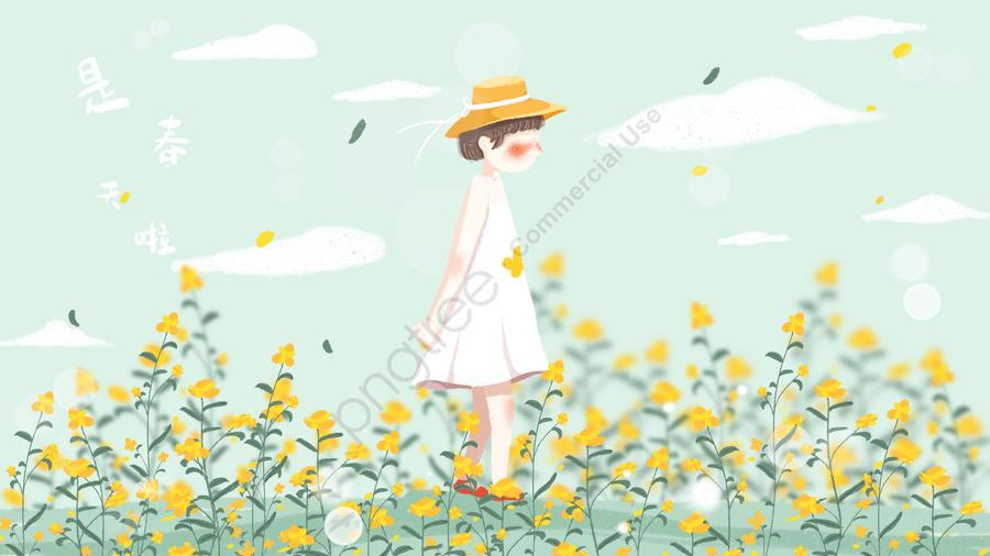 春を治す小さな女の子素敵な, 漫画, 春の始まり, 春 llustration image
