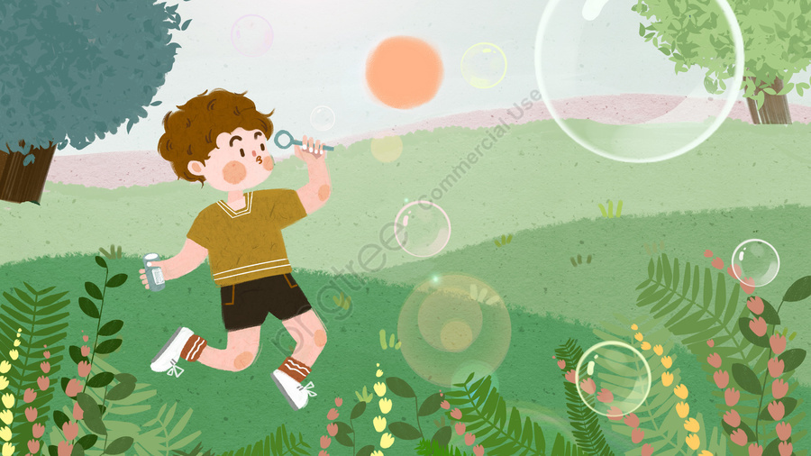 वसंत का दिन क्षेत्र घास का मैदान किशोर, बचपन, वसंत के दिन, बुलबुले उड़ाने llustration image