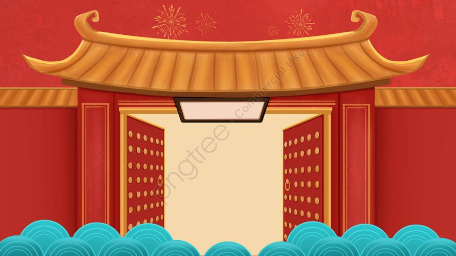 春祭り中国風バナー手描き, 屋根, 赤, オープン llustration image