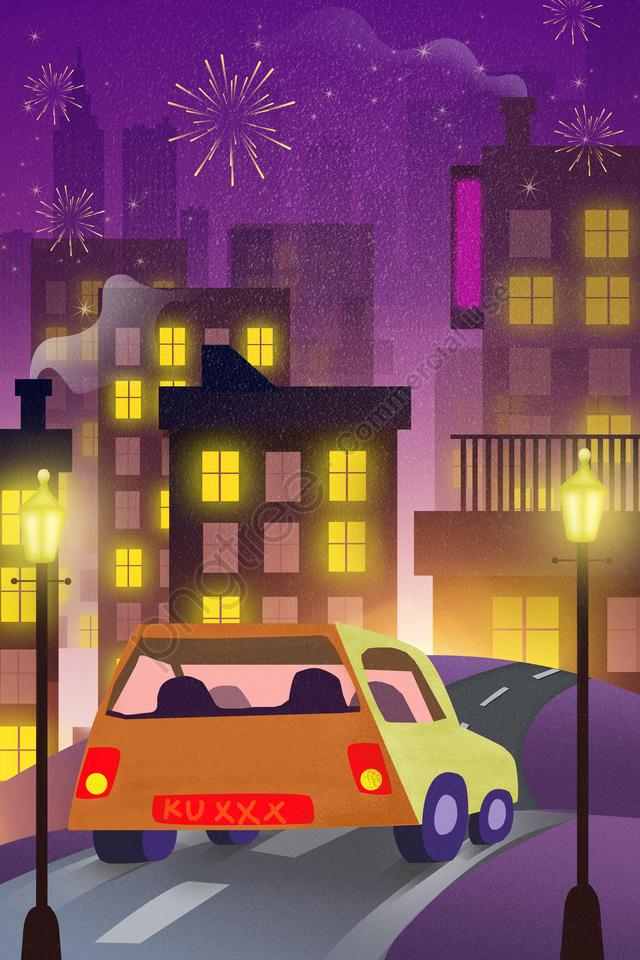 Lễ Hội Mùa Xuân Trở Về Nhà Thành Phố đêm, Gradient, 二千零一十九, Chúc Mừng Năm Mới! llustration image