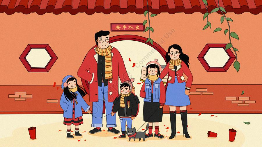새해 이브 축하 봄 축제 연도, 연 지아 후안, 중국 붉은, 불꽃놀이 llustration image