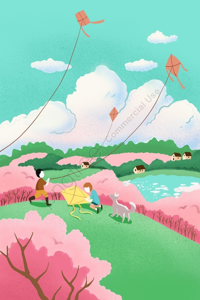 spring fly a kite cherry blossoms character, Spring, Fly A Kite, Cherry Blossoms llustration image