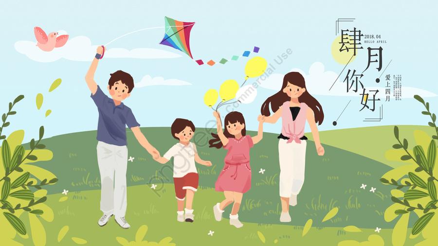 Du Lịch Gia đình Mùa Xuân Tươi, Hạnh Phúc., Màu Xanh., Lĩnh Vực llustration image
