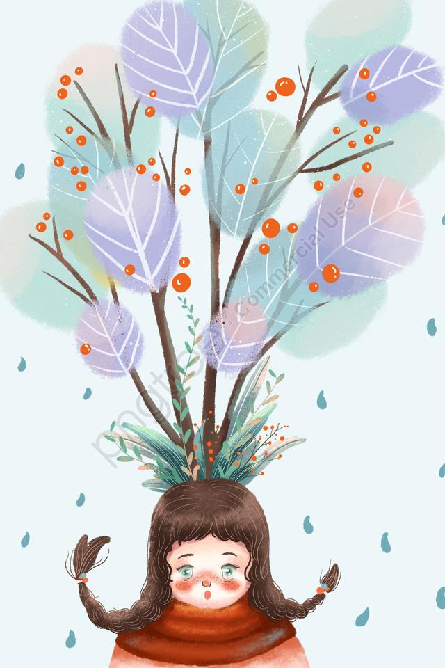 春の発芽開始春の治療法, 新鮮, 少女, 可愛い llustration image