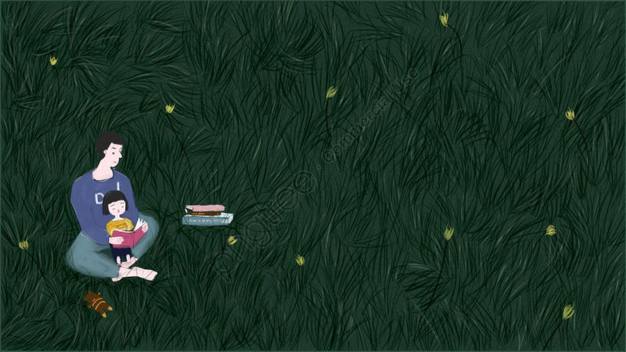 春の草原の父と娘を読む, チャイルド, 子供の読書, 親 llustration image