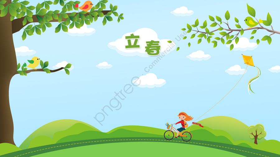 春の緑の木の鳥, ガール, 乗馬, カイト llustration image