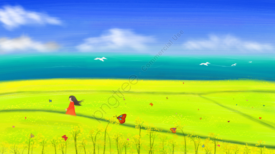 spring hand painted rape flower little girl, Butterfly, Illustration, Spring Blossoms llustration image